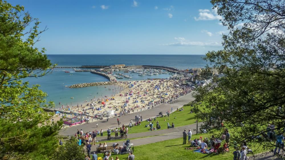 Lyme Regis gardens and beach